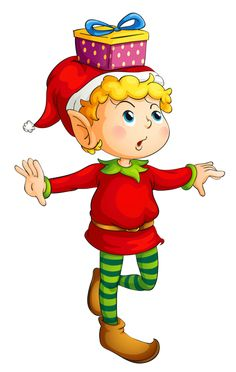 Christmas Elf with Gift PNG Picture