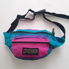 528c20e8b0c1 JanSport Vintage Fanny Pack 80s 90s Pink Purple Teal Pouch Hip Waist Sack  Bag by TraSheeWomen