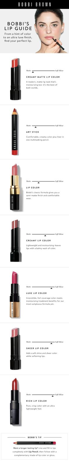 It's Bobbi's Lip Color Guide. Brows Bobbi Brown Makeup, perfect makeup and beauty collection Blue Lipstick, Pink Lips, Bobbi Brown Lipstick, Pink Makeup, Eye Makeup, Hair Makeup, Beauty Make-up, Beauty Tips, Natural Beauty