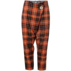 Vivienne Westwood Anglomania Tartan Double Front Flap Trousers ($430) ❤ liked on Polyvore featuring pants, capris, cropped trousers, brown pants, plaid trousers, tartan pants and relaxed pants