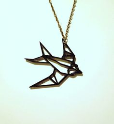 Origami Swallow Pendant Necklace