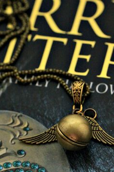 Harry Potter Golden Snitch necklace with Swarovski crystal Steampunk