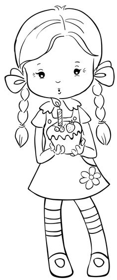 Girl Braids Blowing Candle On Cupcake Annie