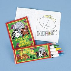 Mini Zoo Animal Colouring Activity Set :  These zoo or jungle safari animal themed sets include a 8.9cm 20 page colouring book and a box of 4 assorted non-toxic crayons.