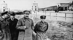 Interested in manipulated photos? Then have a look at this site, http://www.alteredimagesbdc.org/ . The original image (seen above) shows Nikolai Yezhov, chief of the Soviet secret police walking alongside Joseph Stalin (on his left side) and a third official close to Stalin's right arm. After presiding over mass arrests and executions during the Great Purge (1936-38), Yezhov became a victim himself. He was arrested, sentenced to death, executed (in 1940) - and removed from the image.