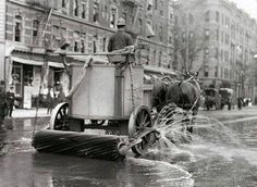 A two-horse team street cleaner, with sprayer, squeegee, and roller at rear. New York, between ca. 1910 and ca. (Photo by NYC Municipal Archives) Old Pictures, Old Photos, Retro Pictures, Vintage Photographs, Vintage Photos, New York City, Ville New York, New York Photos, Vintage New York