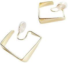 Amazon.com: Miyabi Grace Women's Elegant Square Geometric Gold Invisible Spiral Clip On Hoop Earrings Comfortable Non Pierced Earrings Pierced Look: Jewelry Pierced Earrings, Clip On Earrings, Hoop Earrings, Spiral, Amazon, Elegant, Gold, Jewelry, Classy