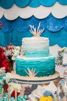 7 Best Movie Themed Kids Birthday Party Ideas in Singapore. Planning a birthday party can be easy! With these inspirations, tips, tricks and party hacks! Mermaid Theme Birthday, Little Mermaid Birthday, Little Mermaid Parties, Ocean Party, Luau Party, Sea Cakes, Under The Sea Party, Party Decoration, Themed Cakes