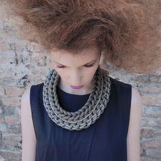 Mix Knot Bib Necklace Grey