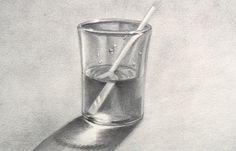 Cómo dibujar un vaso de agua - cómo dibujar vidrio