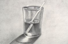 Cómo dibujar vidrio: Un vaso de agua - Arte Divierte.