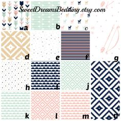 Custom Bedding Woodland Arrows Deer  in Pink Navy Mint by SweetDreamsBedding on Etsy