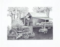 Drawing of an old barn and tractor in pencil