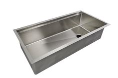 "Large, single basin workstation sink. Recommended Standard Base Cabinet: 42"" Sink Dimensions Disposal Information Kitchen Sink Design, Kitchen Sinks, Single Bowl Kitchen Sink, Undermount Sink, Base Cabinets, Basin, Modern Design, Stainless Steel, Create"