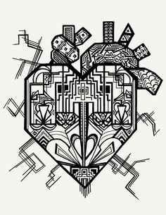 Art Deco Heart Coloring page Adult coloring page by VDelFlores