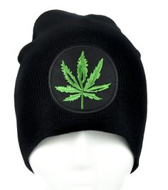 Cannabis Pot Leaf Beanie Alternative Clothing Knit Cap Legalize