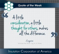 "#Quote of the Week ~ Eeyore, ""Winnie the Pooh"" by A. A. Milne ~ ""A little #consideration, a little thought for others, makes all the difference."" . #thoughtfulness #quotesofpinterest #eeyore #eeyorequotes #winniethepooh #winniethepoohquotes #lifequotes #aamilne #aamilnequotes #inspiration #kindness #loveoneanother❤️ #bekind A A Milne Quotes, Eeyore Quotes, Winnie The Pooh Quotes, New Quotes, Life Quotes, Inspirational Quotes, Quote Of The Week, Consideration, Insulation"