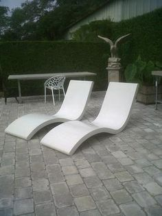 Concrete Candice Chaise Lounge Suitable For Year Round Outdoor Use Special Terrazzo Chocolate Brown Finish Custom Colors Available 2 in Southampton in White Concrete Bench, Concrete Steps, Concrete Furniture, Concrete Art, Concrete Projects, Concrete Planters, Garden Furniture, Outdoor Furniture, Outdoor Decor