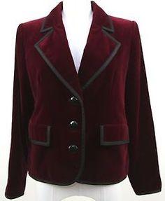 Yves Saint Laurent Rive Gauche Jacket Blazer Red Velvet Black Trim Lined VINTAGE Shop: ebay.to/1vixyM9  #YSL #Vintage #Velvet #Blazer #Jacket #WinterFashion #Trend #Fashion #Highfashion #Apparel #Clothing #Consignment #WomensFashion #Stylist #Fashionista #OOTD