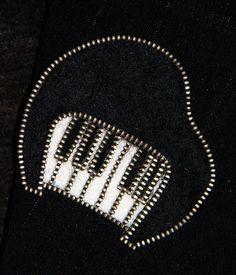 Piano designer zipper and felt handmade brooch by 3latna on Etsy, €12.00