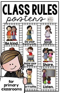 Makes a sweet bulletin board display and a great visual reference for students who need support with self regulation and classroom behavior expectations. Classroom Behavior, Primary Classroom, Classroom Setup, Classroom Organization, Class Rules Poster, Classroom Rules Poster, Back To School Activities, Kindergarten Activities, School Themes