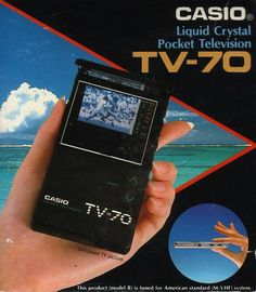 """Casio TV-70 portable television with """"Solar Projection System,"""" 1986"""
