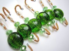 6 Large Green Glass Bead and Sparkling Rondelles Fully Beaded Ornament Hangers
