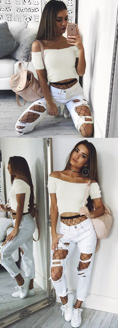 fashion white off the shoulder sweaters, cool girl short sweaters, modest street style outfits