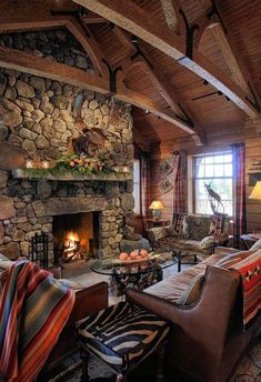 13 fun (and warm) ways to beat the Upstate NY winter blues Cabin Fireplace, Fireplace Design, Rustic Fireplaces, Cabin Homes, Log Homes, Lake Placid Lodge, Cabin Interiors, Lodge Decor, Lodge Style Decorating