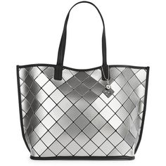 Calvin Klein Faux Leather Diamond Tile Tote (9,865 INR) ❤ liked on Polyvore featuring bags, handbags, tote bags, silver, white purse, vegan leather tote bag, white tote bag, faux-leather handbags and carryall tote