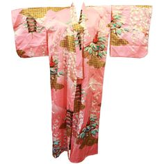 Japanese Kimono, Pink Gold Long Robe, Matching Belt, 80s Asian Geisha... (90 CAD) ❤ liked on Polyvore featuring intimates, robes, vintage kimono robe, pink robe, long kimono, floral robe and dressing gown