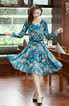 2014 Spring Women Retro Elegant V-neck Floral Chiffon Slim OL Long Sleeve Dress