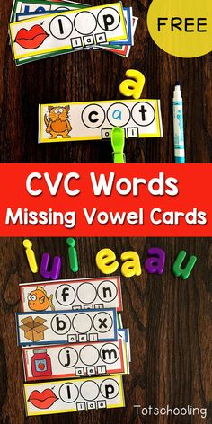 CVC Missing Vowel Cards FREE CVC word activity for kindergarten kids to practice reading short vowel words and finding the missing vowel sound. Fun cards for a literacy center. Can be used with dry erase markers and clothespins. Short Vowel Activities, Phonics Activities, Language Activities, Short Vowel Games, Word Family Activities, Class Activities, Classroom Activities, Kindergarten Reading Activities, Kindergarten Centers