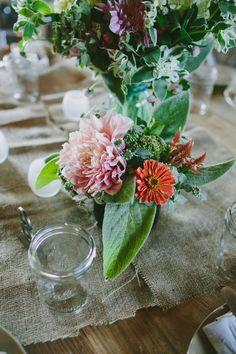 petite centerpiece arrangement // photo by Amber Vickery, flowers by Love n Fresh Flowers // view more: http://ruffledblog.com/garden-wedding-at-terrain