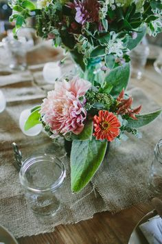 petite centerpiece arrangement // photo by Amber Vickery, flowers by Love n Fresh Flowers // view more: http://ruffledblog.com/garden-wedding-at-terrain