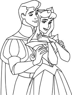 Disney Auroras Story Aurora And Phillip Coloring Pages