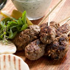 Flavorful Lamb Kofta served with toasted pita's and herbed Tzatziki