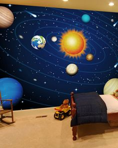 Inspire your child with a colorful solar system wallpaper mural. It will infuse their special space with color and creativity. Shop this and more like this mural at wallsauce.com.  Price per square foot. Click 'visit' to view and buy.