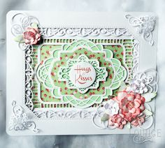 Mandy Smith Card made using: Creative Expressions Sue Wilson Noble Collection - Ornate Pierced Rectangles, Sue Wilson Canadian Collection - Corner, Border and Tag Sue Wilson Portugese Collection - Background and Lisbon Sue Wilson Finishing Touches Collection - Perfect Peony Complete Petals, Splendid Swirls and Configurations Collection - Elegant Lace Edger