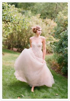 Photo by Elizabeth Messina  via Shira Weinberger's Bridal Fashion Guide to Blush Colored Wedding Dresses
