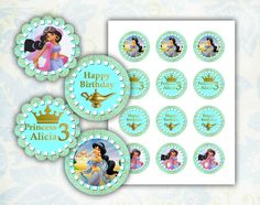 Jasmine Happy Birthday cupcake toppers 2 inch images by EDParty, $3.00