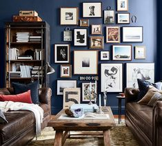 Wood Gallery in a Box Frames Hipster Living Rooms, Living Spaces, Photo Gallery Walls, Reclaimed Wood Bookcase, Box Frames, Pottery Barn, Living Room Decor, Family Room, Sweet Home