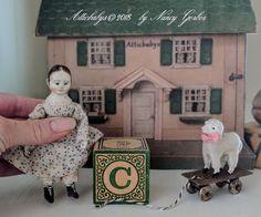 "Izannah Walker miniature 4.5"" doll w/antique putz sheep pull toy ""ATTICBABYS"" #NaivePrimitive"