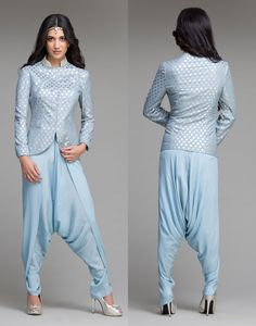 EMBROIDERED SUMMER BLUE JACKET WITH DHOTI PANTS