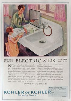 1927 Kohler Electric Sink Ad ~ Let The Sink Do The Dishes, Vintage Hardware & Paint Ads