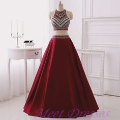 Simple 2 Piece Prom Gown Two Piece Satin Prom Dresses New Style Wine Red Prom…