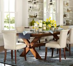 Love this look for the dining room - Toscana Extending Dining Table | Pottery Barn