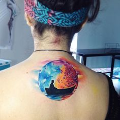 crazy watercolor moon tattoo by Adrian Bascur