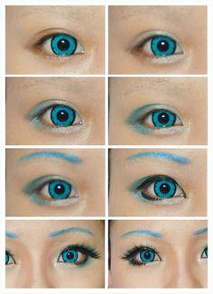 Hatsune Miku Augen Make-up von EzrealCos. Geisha Makeup, Anime Makeup, Goth Makeup, Anime Hair, Makeup Art, Hatsune Miku Costume, Miku Cosplay, Cosplay Diy, Cosplay Makeup