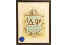 Framed Delta Psi Fraternity Certificate